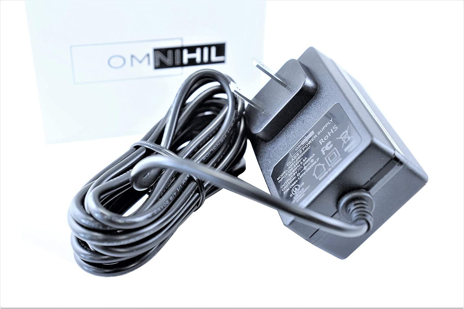 [UL Listed] OMNIHIL 8 Feet Long AC/DC Adapter Compatible with Bolt Power G06, D28A, K3 Mini Portable Car Battery Jump Starter Power Bank