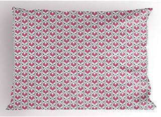 4Pcs 18X18 Inch Funda De Almohada Abstracta,Ilustración De Corazón Continua Geométrica Poligonal Romántica Amor Inconformista,Decoración Para El Hogar Funda De Almohada Impresa Tamaño King Estándar