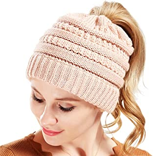 Yamauchi Mihoko Women's Trendy Warm Winter Beanie Hat Stretch Slouchy Skully Knit Cap Pom Bobble Hat