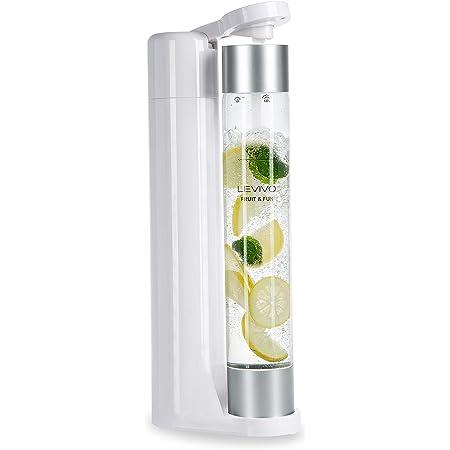 Levivo machine à gazéifier Slim Fruit & Fun, bouteille à gazéification 1L, Machine à Soda, Appareil à eau Pétillante, gaz pour eau, cocktails et autres boissons, sans CO² - cylindre