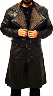 Red Smoke Blade Runner 2049 Ryan Gosling (ufficiale K) Shearling nero trench cappotto in pelle