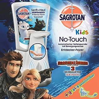 Sagrotan No-Touch Kids Automatischer Seifenspender – Inkl. Sagrotan Nachfüller Entdeckerpower Aloe Vera und Sticker, Drachenzähmen leicht gemacht Edition – 1 x 250 ml Flüssigseife