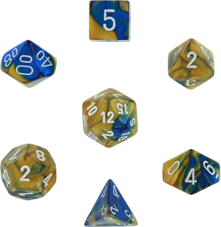 Polyhedral 7-Die Gemini Dice Set - blu & oro w bianca (d4, d6, d8, d10, d12,...