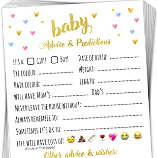T Marie 40 Baby Shower Game Advice Cards - Baby Predictions, Words of Wisdom, and Advice for Mommy to Be - Perfect Baby Sh...