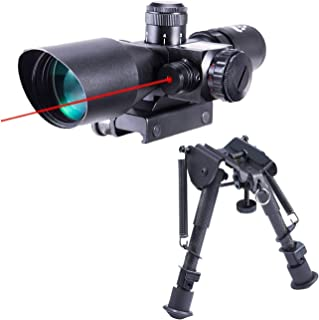 Pinty 2.5-10x40 Red Green Illuminated Mil-dot Tactical Rifle Scope with Red Laser Combo & Carbon Fiber Rifle Bipod with 6 ...