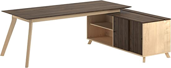 Ameriwood Home AX1 L Shaped Office Desk, Walnut