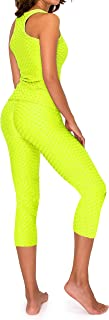 SWEET TEE Anti Cellulite Workout Sets for Women - High Waisted Butt Lift Anti-Cellulite Yoga Workout Tank Top Bottom
