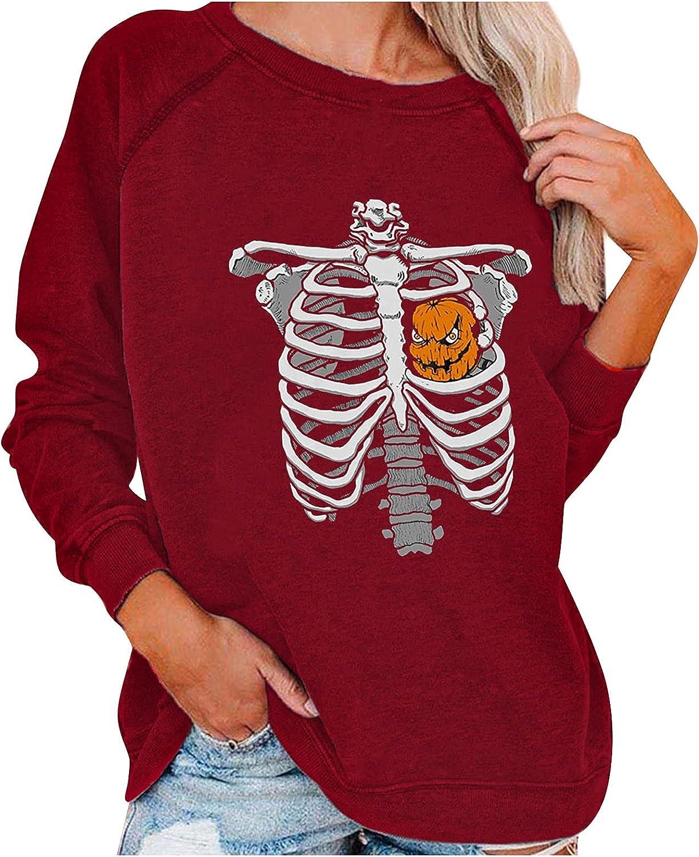 Halloween Sweatshirt Tops for Women Witch Pumpkin Skeleton Printed O-Neck Long Sleeve Pullover Blouses Tees
