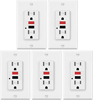 5 Pack - ELECTECK 15A/125V Tamper Resistant GFCI Outlets, Duplex Receptacle with LED Indicator, Decor Wall Plate and Screws Included, Red Button for RESET and Black for TEST, ETL Certified, White