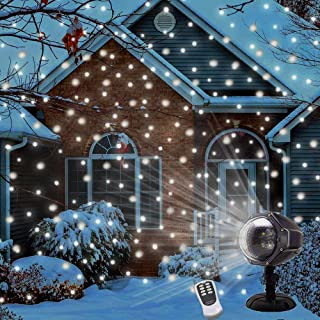 LED Snowfall Projector Lights Christmas Snowflake Projector Light with Wireless Remote Indoor Outdoor Waterproof Snow Falling Landscape Projection Light for Halloween Party Wedding Garden Decorations