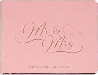 Paper Junkie Mr and Mrs Wedding Guest Sign in Registry Reception Book, Pink Cover with Gold Foil, 64 Sheets, 6 x 8 Inches