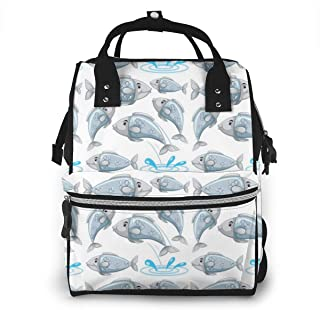 Fish Multi-Function Travel Backpack Nappy Bag,Fashion Mummy Bag