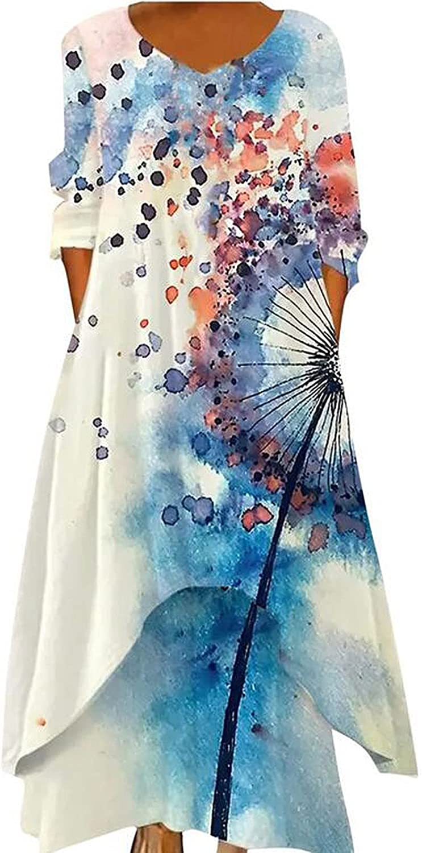 Tpingfe Dresses for Women Floral Printed Cotton Linen Dress Ethnic Style Tummy Control Dress Asymmetrical Midi Dress Fall