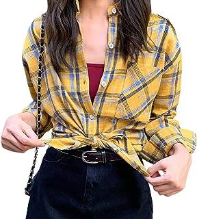 [ShuMing]長袖 シャツ レディース ギンガム チェック柄 ブラウス ゆったり トップス 薄手 アウター チェックシャツ 黄色 ファッション 上着 おしゃれ ストリート系