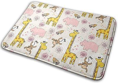 Funny Cartoon Animals Giraffe Monkey Carpet Non-Slip Welcome Front Doormat Entryway Carpet Washable Outdoor Indoor Mat Room Rug 15.7 X 23.6 inch