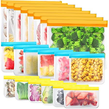 Reusable Storage Bags, 20Pack BPA Free PEVA Reusable Freezer Bags,Reusable Gallon Bags, Reusable Sandwich Bags, Silicone Food Bags for Women, Men and Kids (20Pack-8 Large +6 Sandwich +6 Snack)