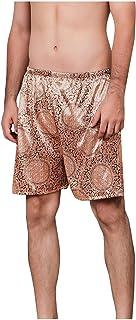 squarex Casual Loose Silk-Inspired Print Pajamas Men's Quarter-Length Shorts Joggers Jogging Jog Trousers Leisure Gym Spor...
