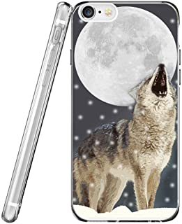 Case for Phone 8 Wolf & Protector for Phone 7 & MUQR Flexible Gel Silicone Slim Drop Proof Protection Cover Compatible with iPhone 7/8 & Creative Wolf in The Moon Animal Cool