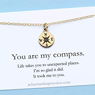 You are my Compass • I'd be Lost Without You • 1/2 Inch TINY Gold Charm Necklace • Unique Handcrafted Gift for Wife/Girlfriend/Best Friend