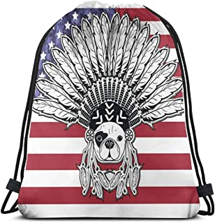 Warrior Style French Bulldog With Tribal Headdress Drawstring Backpack Bag for Kids Boys Girls Teens Birthday, Gift String Bag Gym Cinch Sack for School and Party 14.2 x 16.9 Inch