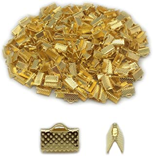 E-outstanding 12 Pieces Gold Fish Shape Clamp Ends Crimp Tips Clip Beads Cap Endcaps Jewelry Making Accessories
