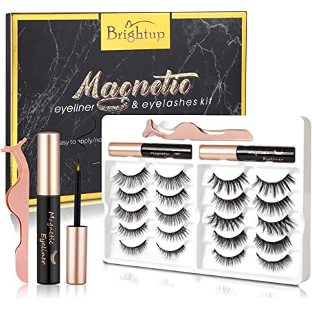 Brightup Magnetic Eyelashes with Eyeliner, 10 Pairs Natural Look Reusable False Magnetic lashes Kit, 2 Tubes Long Lasting Magnetic Eyeliner with Tweezers, Ideal For Gift