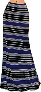 Women's USA Asymmetric Striped Fold Over Waist Long Maxi Skirt