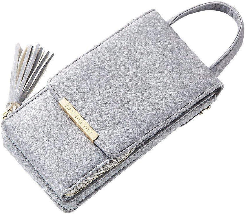 Girls Purse Small Bag Lady Satchel Chain Bag Lady Fashion, Fringed Mobile Phone Wallet (color   grey foncé)