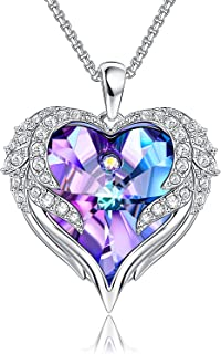Heart Necklaces For Women Angel wings Crystal Necklace Romantic Gift For Her Birthday Gifts For Mom Wife