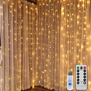 String Lights Window Curtain Lights - 300 LED 9.8ft Icicle Fairy Fair Lights with Remote Control Waterproof Star Lights for Wedding Bedroom Decor Indoor Wall Room Party Decoration Warm White