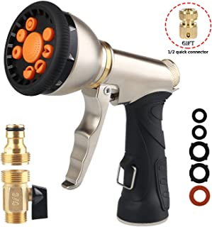 RUIDIGDN Garden Hose Nozzle Heavy Duty Metal Spray Gun Sprayer Adjustable 9 Patterns with Quick Connect Brass Hose Connector 3/4