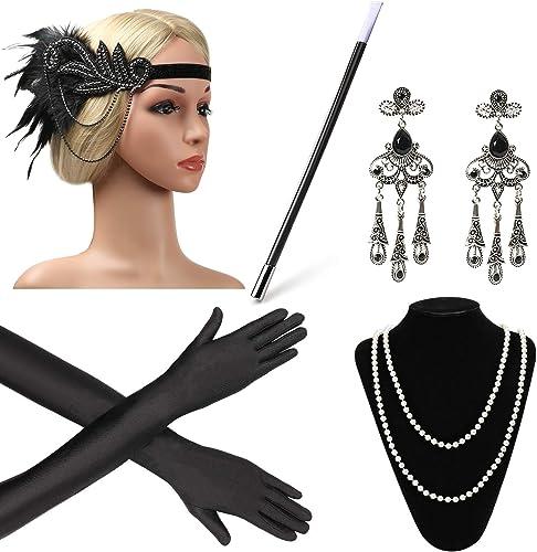 Beelittle 1920s Women Accessories 20s Flapper Costume Gasty Headband Earrings Necklace Gloves Cigarette Holder