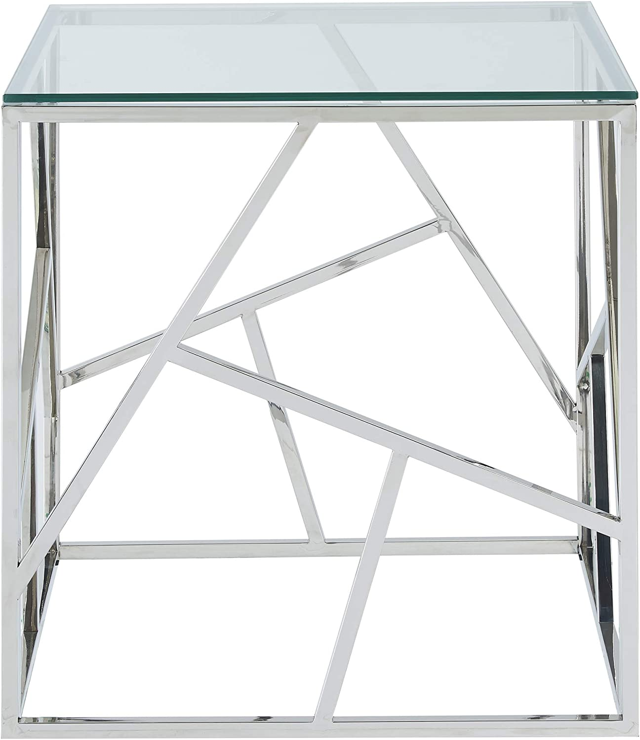 Juniper, Modern Glass Contemporary Accent End Table in Chrome 47L''