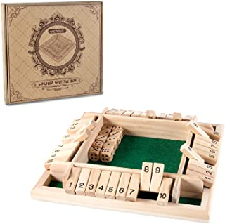 AMEROUS 1-4 Players Shut The Box Dice Game,Classic 4 Sided Wooden Board Game with 10 Dice and Shut-The-Box Instructions fo...
