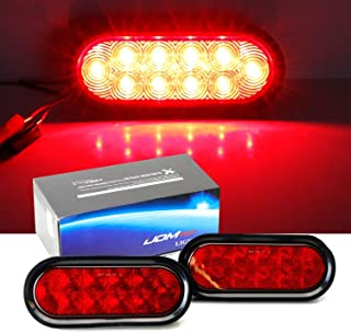iJDMTOY Red LED Reverse Fog Lights Kit Universal Fit For Truck Trailer RV: (2) 6.5-Inch Surface Mount Oval Shape Brilliant Red Lamps w/Grommets & Pigtail Plugs
