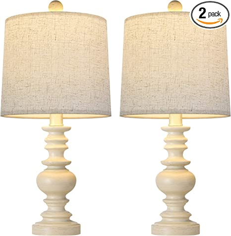 Bobomomo Tradition 20 5 Rustic Table Lamp Set Of 2 For Living Room Farmhouse Bedside Desk Lamps Bedroom Nightstand Vintage Lamps Linen Washed Amazon Com