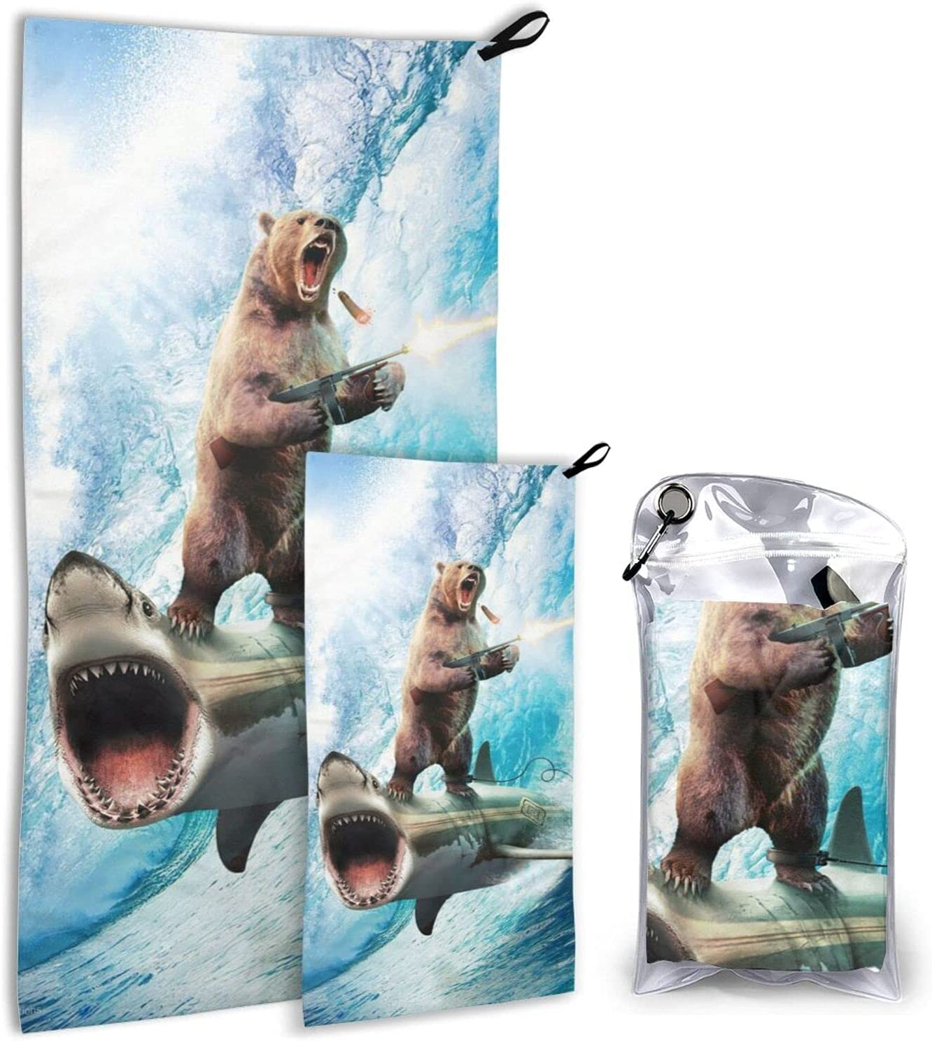 Shark Bear Super beauty product restock quality Cheap top Microfiber Towels 2 Pack Dry - Quick Camping