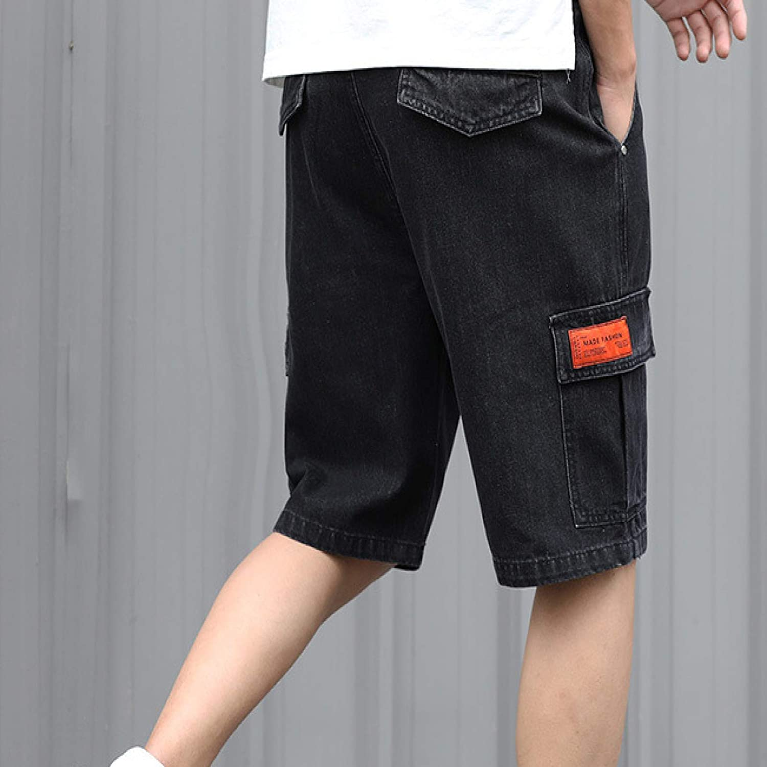 Beastle Men's Jeans Summer Retro Personality Ripped Denim Shorts Trendy Casual Fashion
