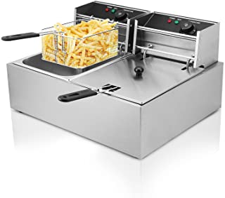 Autocompra Freidora Eléctrica 12L 5000W Freidora Industrial Acero Inoxidable para Patatas Fritas Deep Fryer Commercial (