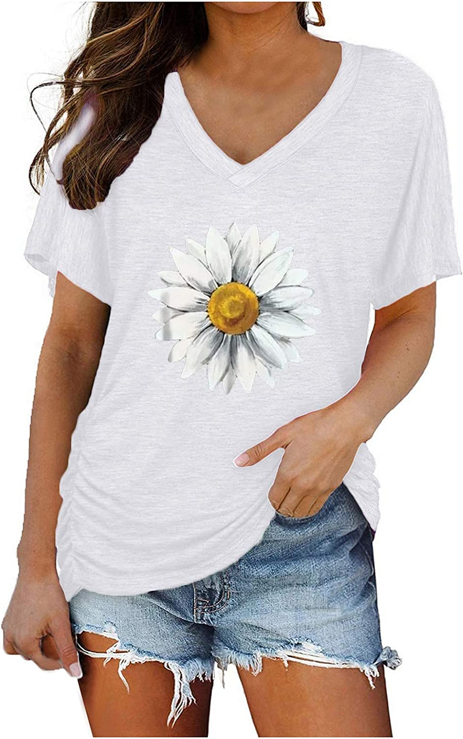 Aukbays T-Shirts for Womens Short Sleeve V Neck Dolman Tops with Side Shirring Daisy Print Loose Fit Shirts Blouses