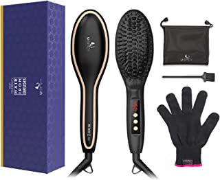 USpicy Hair Straightening Brush, Hair straightener Brush MCH heating technology with FREE Heat Resistant Glove for Silky Frizz-free (450℉/230℃ Adjustable Temperature, Auto Lock, Anti-Scald)