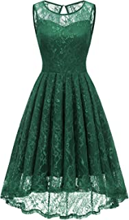 Women's Vintage Lace High Low Bridesmaid Dress Sleeveless Cocktail Party Swing Dress