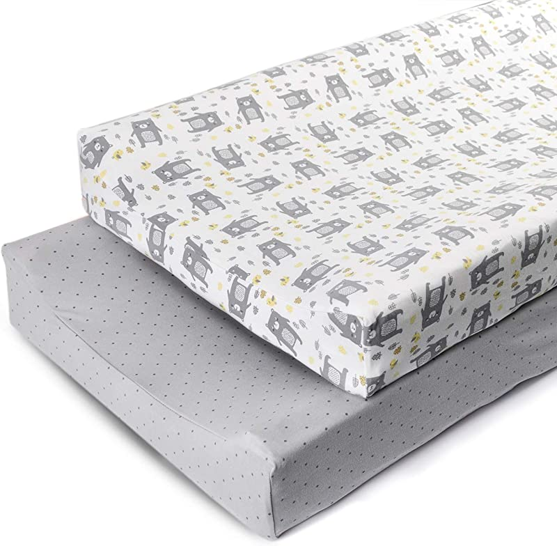 Boritar Changing Pad Covers Grey For Boys Super Soft Stretchy Jersey Knit And Semi Waterproof 2 Pack Set Lovely Bears And Dots Printed 16 32 Inch