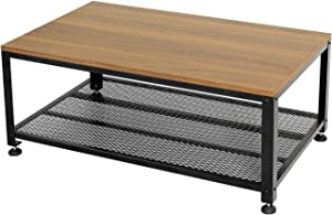 Vlush Industrial Coffee Table with Storage Shelf, Rustic Cocktail Sofa Table with Wooden Top and Metal Frame for Kitchen, Living Room, Bedroom and Entryway