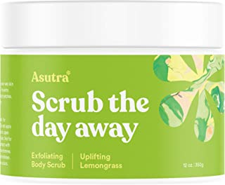 Asutra, Organic Exfoliating Body Scrub, Uplifting Lemongrass, 100% Dead Sea Salt Scrub, Ultra Hydrating and Moisturizing Scrub, Skin Smoothing Jojoba, Sweet Almond, and Argan Oils, 12 oz. Jar