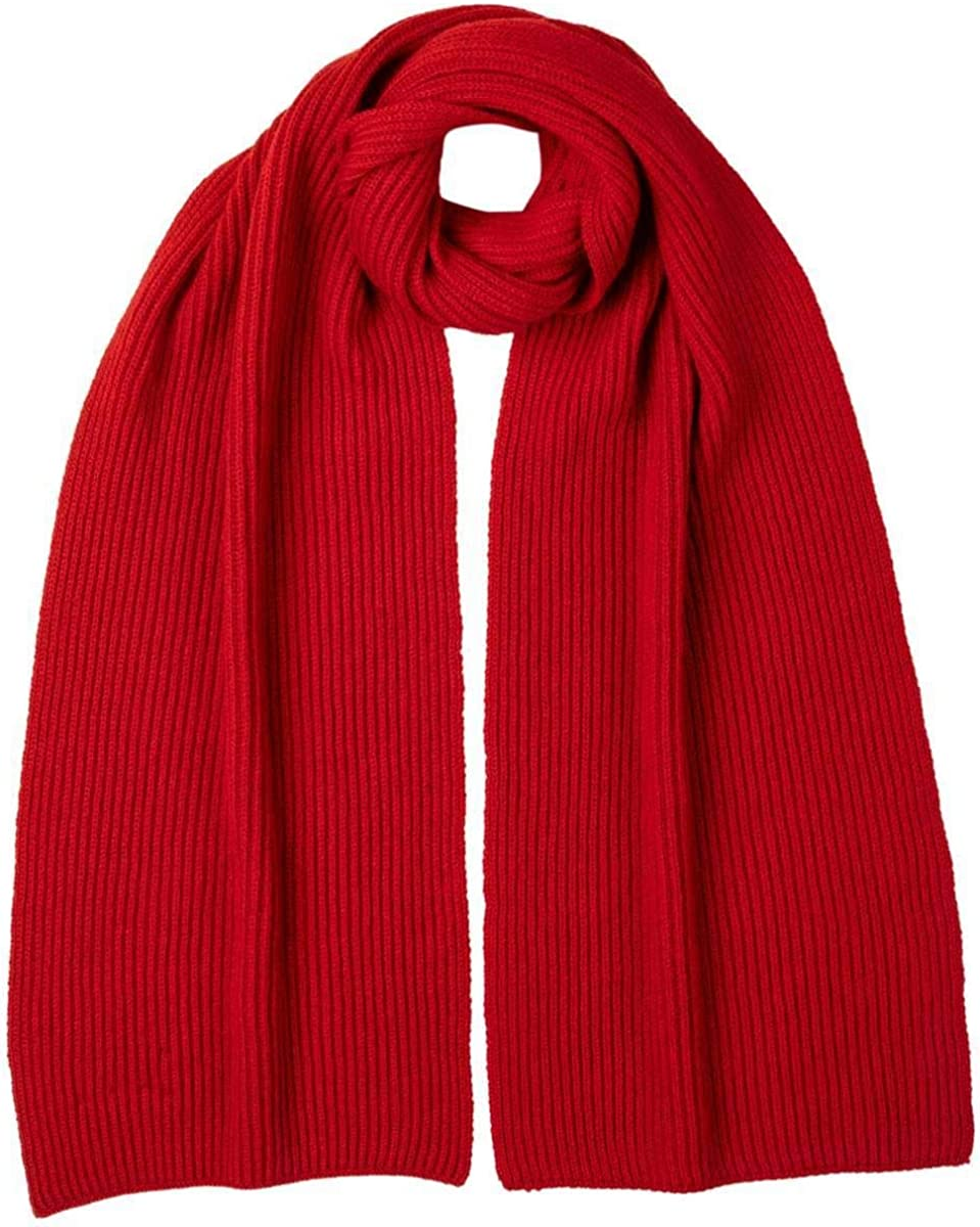 Johnstons of Super popular specialty store Elgin Unisex Ribbed Classic Red Houston Mall Cashmere - Scarf