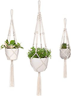 Mkono Macrame Plant Hangers 3 Different Sizes Hanging Planter for Indoor Outdoor Flower Pot Holder Boho Home Decor