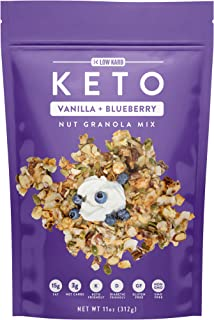 Low Karb - Keto Vanilla Blueberry Nut Granola Healthy Breakfast Cereal - Low Carb Snacks & Food - 3g Net Carbs - Gluten Free, Grain Free - Almonds, Pecans, Coconut, hazelnuts (1 Count)