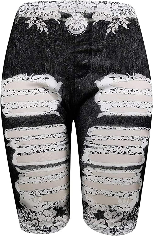 Womens Stretchy Fake Denim Lace Shorts Knee Length Slim Print Short Jeans High Waist Butt Lift Running Tight Short-pant (Black,Large)