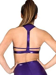 Womens Metallic T-Back Dance Bra Top N7726